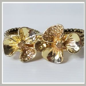 Gold Double Flower Stretch Ring